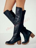 Vintage Women Block Heel Pull On Round Toe Riding Knee High Boots Leather Shoes