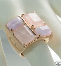 Bronzo Italia Square Cocktail Ring with 4 Rose Quartz Stones Size - 9