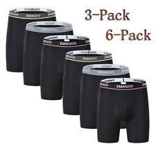 Mens Long Underwear Bamboo Boxer Briefs Breathable Soft Waistband Black Pants
