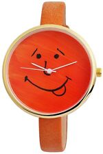 Damenuhr Orange Gold Gesicht Smiley Analog Leder Armbanduhr D-100000300014500