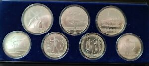 Silbermünzen Olympiade 1980 Moskau 3 x 10 und 4 x 5 Rubel 900er Silber