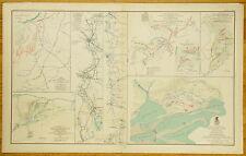 AUTHENTIC CIVIL WAR MAP~RICHMOND-CAROLINAS-PEA RIDGE-MOBILE CAMPAIGNS - 1864-65