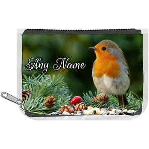 Personalised Denim Purse With ROBIN / BIRD Design *Choice of text colour*