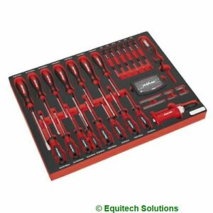 Sealey TBTP04 Tool Tray Screwdriver Slotted Phillips Hammer Thru Pozi 72 Pc Set
