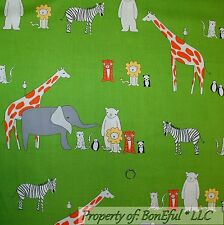 BonEful Fabric Fq Cotton Quilt Green Giraffe Lion Zebra Zoo Jungle Animal Safari