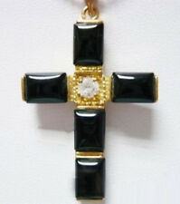 Black Agate Onyx 18KGP Crystal Cross Xmas Women Children Pendant Chain Necklace