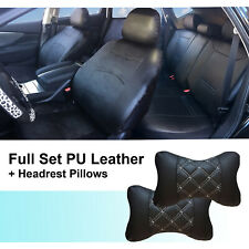 PU Leather Full Car Seats Front Rear Compatible to Kia 1559 Black//Tan