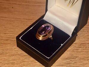 Gold & Amethyst ladies dress ring Size Q - Q 1/2