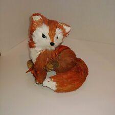 "8 3/4"" tall Sisal Fall Fox pine cones new Nwt Autumn Thanksgiving decor figurine"