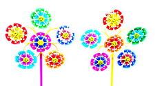 5x Garten Balkon Terrasse Windrad Windmühle Windspiel Blume Dekoration Deko 52cm