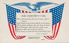 Flags and Eagle Our Country's Call Patriotic Postcard
