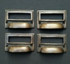 """4 tarnished brass File Apothecary drawer pull Handles 2 3/4"""" Label holders #F1"""