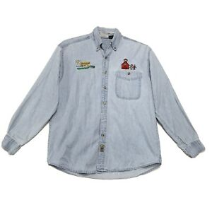 School Bus Teacher Vtg Embroidered DISTRESSED Denim Shirt Sz S Button Up *READ*