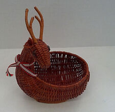 vintage basket figural deer brown woven wicker rattan holiday decor gift basket