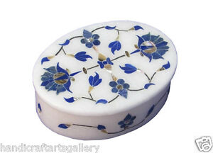 "4""x3""x1.5"" Marble Jewelry Box Lapis Lazuli Marquetry Inlay Collectible Gift H686"