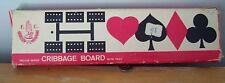 VINTAGE SMALL INLAID WOOD CRIBBAGE BOARD - BY F. C. -  ORIGINAL BOX - HONG KONG