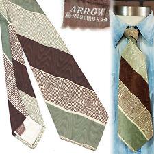 1940s Arrow Brown and Green Wavy Stripe Vintage Necktie Art Deco Swing Tie