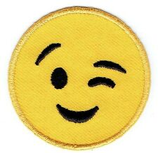Iron On Embroidered Applique Patch - Smiley Face Emoji - Winking - Wink