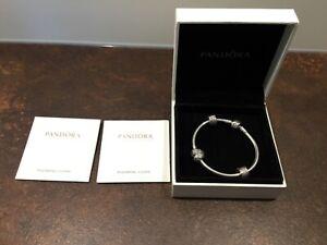 Pandora Armband Silber 18 cm + 3 Charms