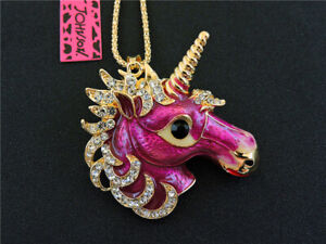 Betsey Johnson Pink Enamel Rhinestone Unicorn Pendant Chain Necklace