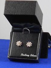 Macy's Sterling Silver Genuine Diamond Cluster Flower Snowflake Stud Earrings