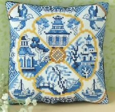Willow Pattern Mini Cushion Cross Stitch Kit, Sheena Rogers Designs