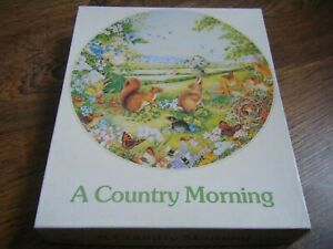 A COUNTRY MORNING [ ROUND JIGSAW ] RABBITS BUTTERFLIES BIRDS 500 PIECES