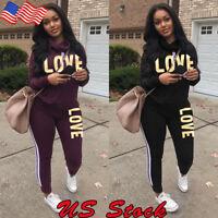 2pcs/set Women Casual Tracksuit Jogging Gym Sports Hoodies Sweatshirt Pants Suit
