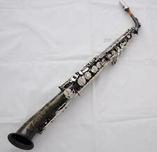 Professional Straight Alto Saxello Saxophone Black Nickel Silver sax With Case
