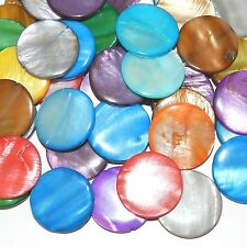 MPXL1619 Assorted Color Mother of Pearl 30mm Flat Round Gemstone Shell Bead 48pc
