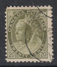 "Canada Scott #84  20 cent  olive green  ""QV Numeral""  F"
