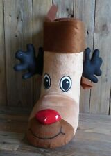 Christmas Sweet Boot or Wine Bag Small Xmas Stocking Sack Festive Reindeer