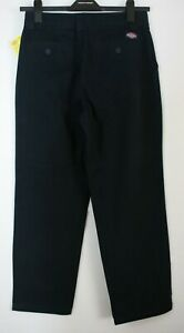 """BNWT MENS DICKIES SIZE W42"""" I/L30"""" NAVY COTTON CHINO TROUSERS WITH FRONT PLEATS"""
