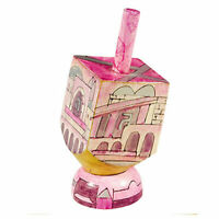 Hanukkah Hand Painted Pink Dreidel with Stand - Jerusalem Chanukah Holiday Gift