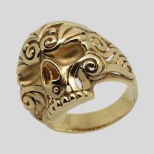 Mexican Sugar Skull 14K Gold Ring Biker Memento Mori Floral Size 12 UNIQABLE