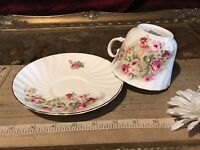 Crownford Giftware Fine Bone China Cup & Saucer Pink & White Rose Design