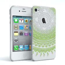 Hülle für Apple iPhone 4 / 4S Schutz Cover Handy Case Motiv Weiß / Grün