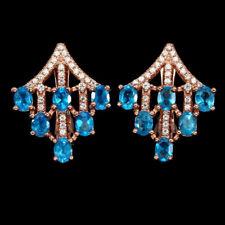 Gorgeous Oval Cut AAA Neon Blue Apatite 925 Sterling Silver Earrings 14K R.G.P.