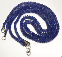 """1 STAND NATURAL TANZANITE MICRO FACETED RONDELLE BEADS NECKLACE 4.5 - 5MM 16"""""""