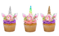 12 UNICORN HORN AND EARS EDIBLE CUPCAKE TOPPERS PREMIUM WAFER CARD PRECUT/UNCUT