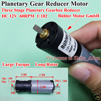 DC 12V 60RPM Bühler 22MM Planetary Gearbox Gear Reducer Motor for Robot DIY Part