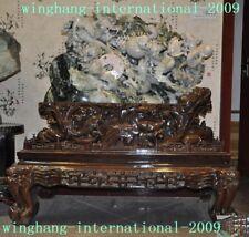A  huge 100% Jadeite Emerald Jade carving feng shui peony flower 9 Dragon statue