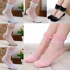 Women's Sexy Ultrathin Transparent Crystal Lace Elastic Short Socks Ankle Socks