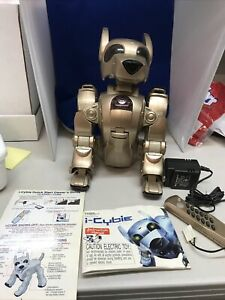 2001 i-Cybie Robot Dog Gold by Hasbro Tiger Electronics in Charging Position