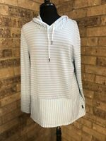 RBX Light Green & White Striped Long Sleeve Hooded Shirt Women's Size L