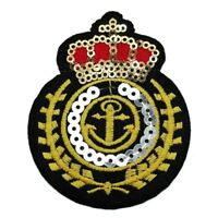 PATCH CROWN MILITARY ANCHOR BLING IRON ON SEW SEQUIN PATCHES BADGE GOLD NAVY RED