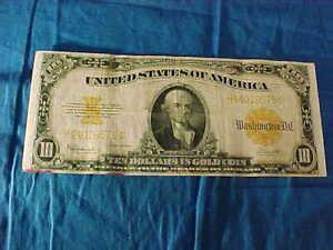 Orig 1922 Series US 10 Dollar GOLD CERTIFICATE BILL