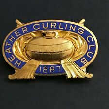 New listing VINTAGE CURLING PIN HEATHER CURLING CLUB 1887  (Birks written on back)