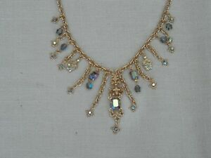 KIRKS FOLLY NECKLACE - PRETTY - GOLD PLATED ENCRUSTED WITH BEAUTIFULL CRYSTALS