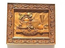 "Wood carving Still Life wall plaque/picture 12-5/8"" x 10-7/8"" x 7/8""Thick"
